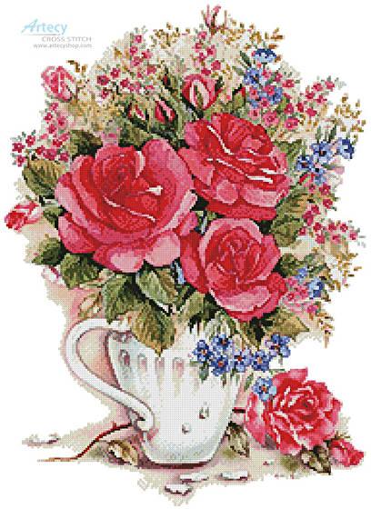 cross stitch pattern Pink Floral Arrangement