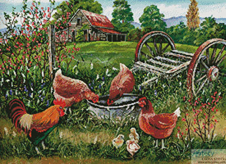 cross stitch pattern Poultry Peckin' Pals