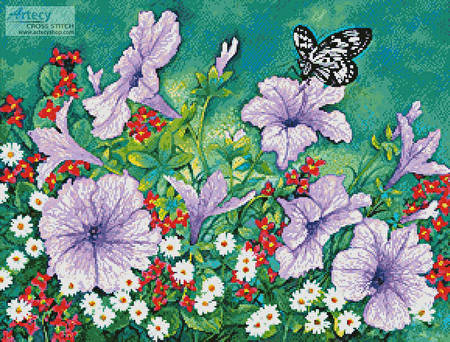 cross stitch pattern Purple Petunias