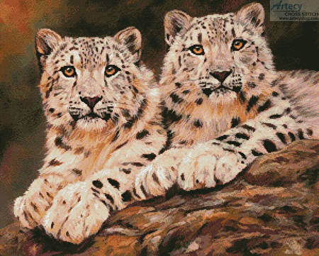 cross stitch pattern Pair of Young Snow Leopards