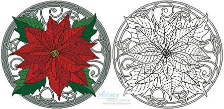 cross stitch pattern Poinsettia and Keltic Knots