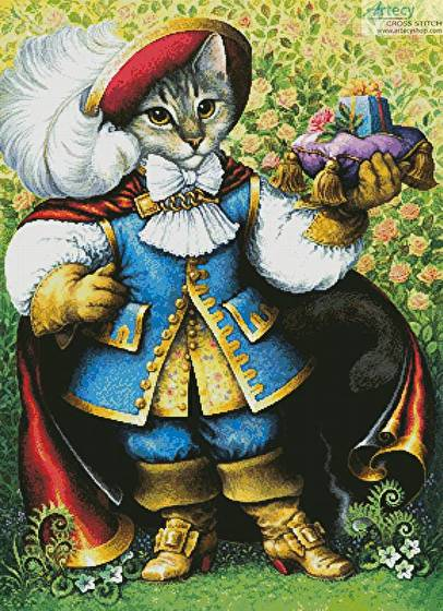 cross stitch pattern Puss in Boots Painting