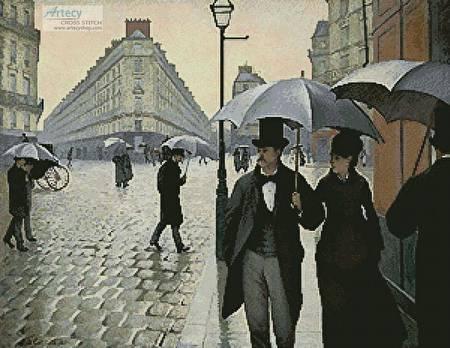 cross stitch pattern Paris Street, Rainy Day (Large)