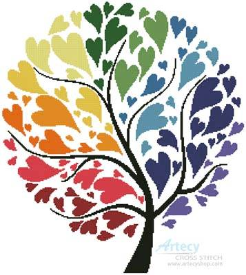 cross stitch pattern Rainbow Tree of Hearts