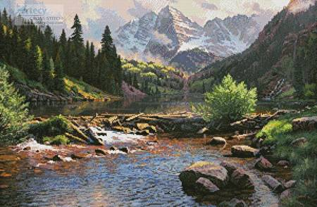 cross stitch pattern Rocky Mountain Grandeur
