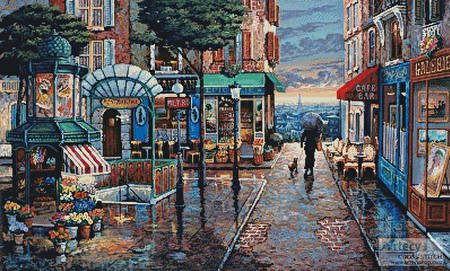 cross stitch pattern Rainy Day Stroll