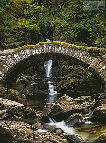cross stitch pattern Roman Bridge, Glen Lyon
