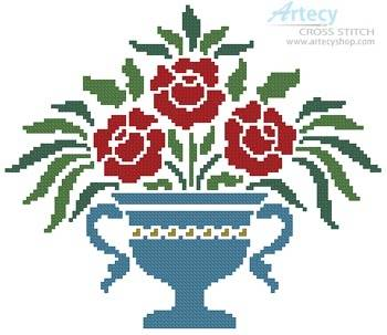 cross stitch pattern Rose Urn