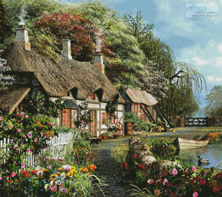 cross stitch pattern Riverside Home in Bloom (Cushion)