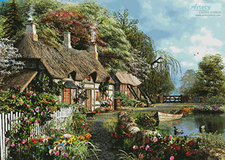 cross stitch pattern Riverside Home in Bloom (Large)