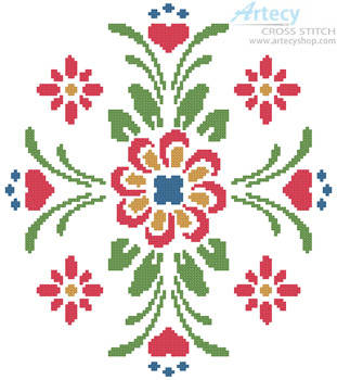 cross stitch pattern Rosemaling 2