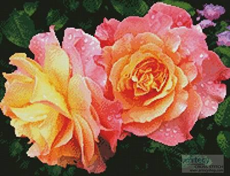 cross stitch pattern Roses in a Garden