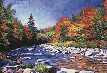 cross stitch pattern River of Autumn Colors