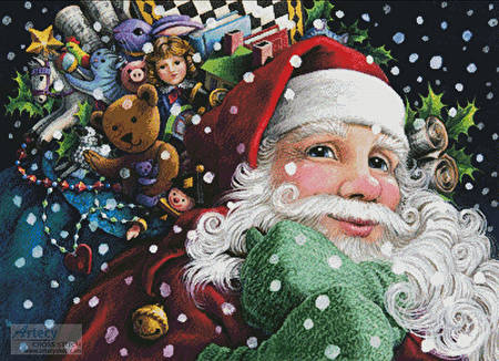 cross stitch pattern Santa's Toys