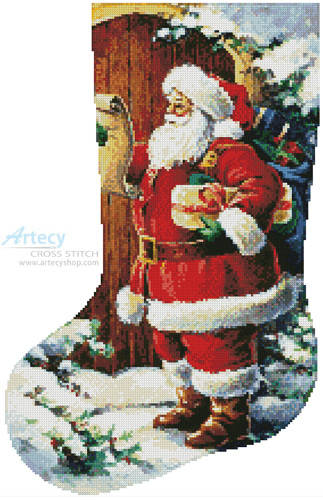 cross stitch pattern Santa at the Door Stocking (Left)