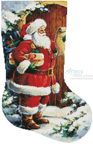 cross stitch pattern Santa at the Door Stocking (Right)
