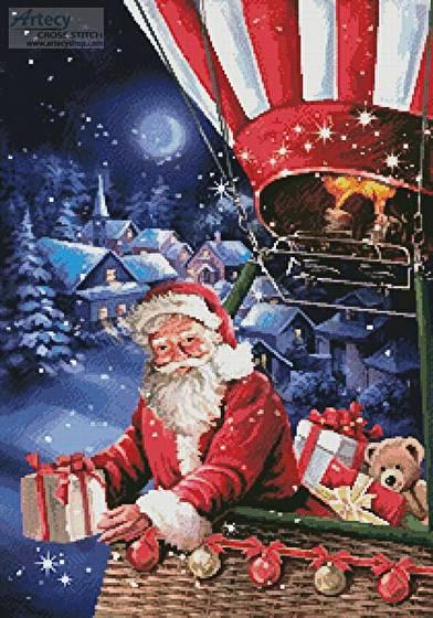cross stitch pattern Santa in a Hot Air Balloon