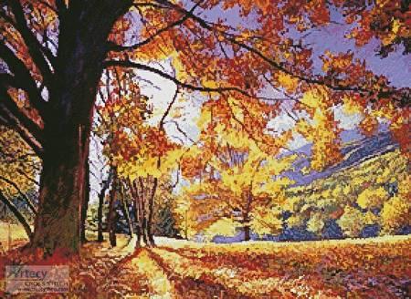 cross stitch pattern Sunlight through the Trees