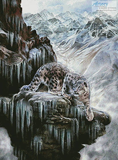 cross stitch pattern Snow Leopard High Country