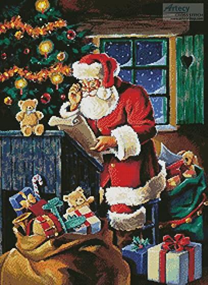 cross stitch pattern Santa Checking the List