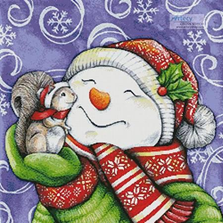 cross stitch pattern Snowman with Squirrel
