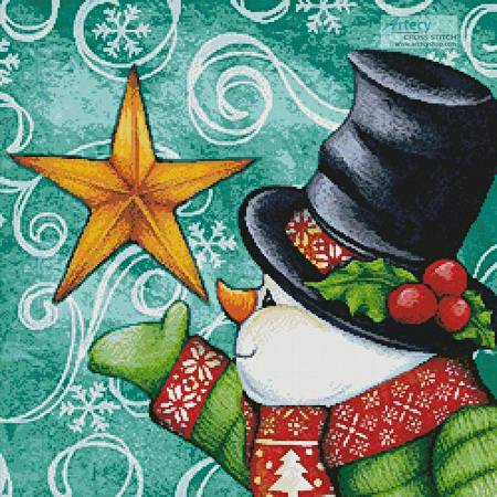 cross stitch pattern Snowman with Star