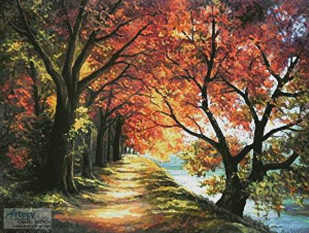 cross stitch pattern Sunny Autumn Path