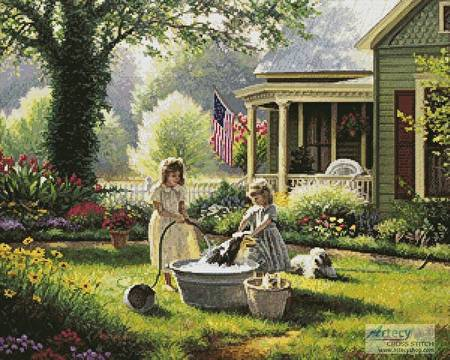 cross stitch pattern Spring Cleaning