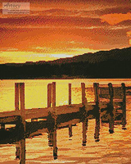 cross stitch pattern Sunset Dock (Crop)