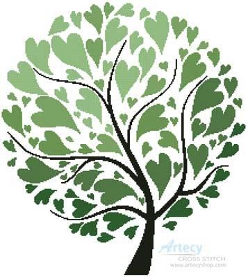cross stitch pattern Summer Tree of Hearts