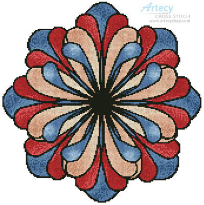 cross stitch pattern Stained Glass Flower (Blue)