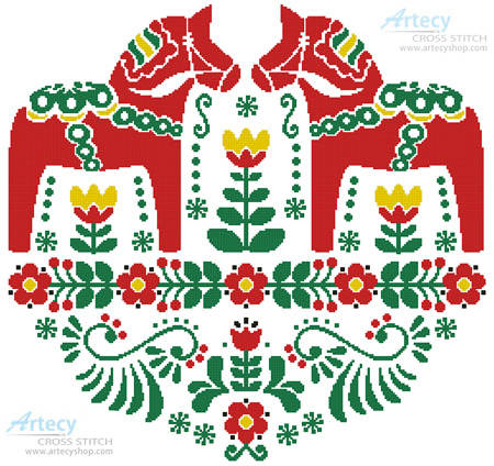 cross stitch pattern Swedish Dala