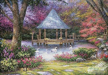 cross stitch pattern Swan Pond