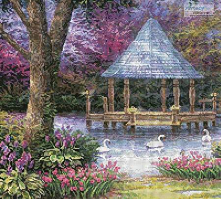 cross stitch pattern Swan Pond (Crop)