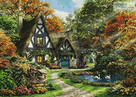 cross stitch pattern The Autumn Cottage