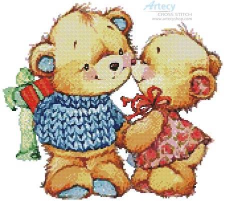 cross stitch pattern Teddy Kiss