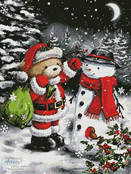 cross stitch pattern Teddy Santa with Snowman
