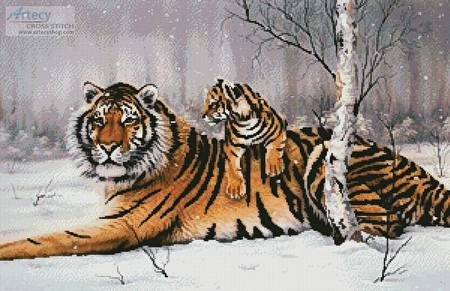 cross stitch pattern Tiger and Cub