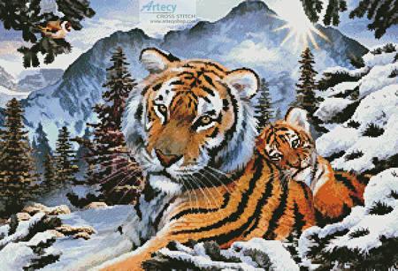 cross stitch pattern Tiger Dawn