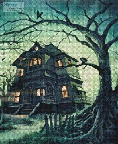 cross stitch pattern The Haunted House (Crop)