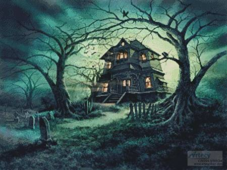 cross stitch pattern The Haunted House