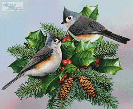 cross stitch pattern Titmouse and Holly
