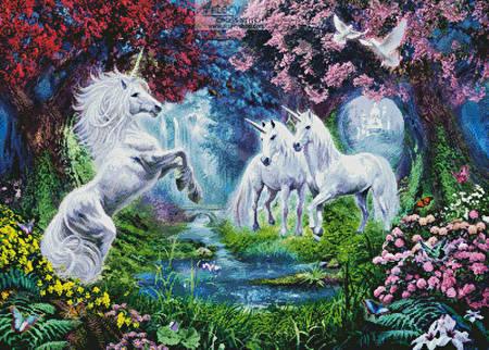 cross stitch pattern Unicorn Rendezvous