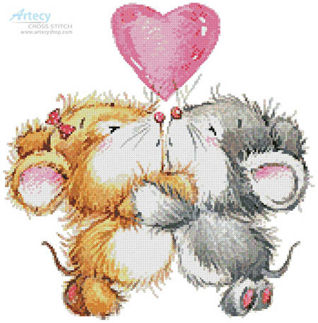 cross stitch pattern Valentine Mice