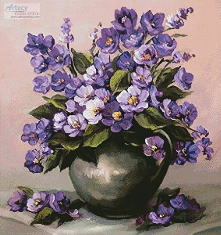 cross stitch pattern Vase of Violets