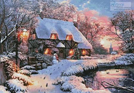 cross stitch pattern Winter Cottage