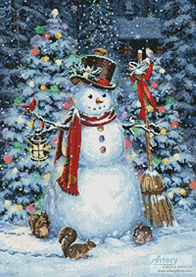 cross stitch pattern Woodland Snowman