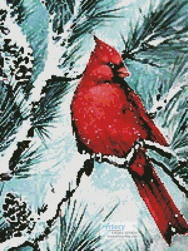 cross stitch pattern Winter's Glory Red Bird (Crop)