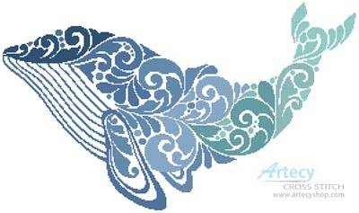 cross stitch pattern Whale Silhouette