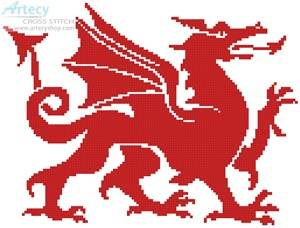 cross stitch pattern Welsh Dragon